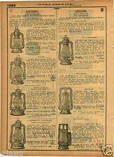 1921 PAPER AD 3 PG Dietz Vista Railroad Air O Lite Justrite Acetylene Lantern