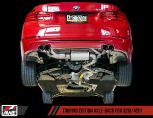 AWE Tuning 3010-42042 Touring Exhaust Quad Outlet Chrome Tips For BMW 328i 428i
