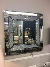 Large Sparkly Silver Square Wall Mirror Diamond Glitz Crushed Glass Crystal 90cm