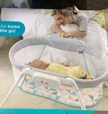 Fisher Price Portable Vibrating Stow 'n Go Baby Bassinet with Storage Bag, White