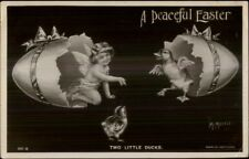 Easter - Cherub & Chick Hatch From Eggs Beagles Real Photo Postcard - Morris