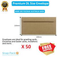 50 x DL Recycled Brown Kraft Envelopes 100% Recycled Peel N seal-Same Day Post