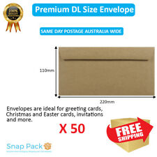 50 x DL Recycled Brown Kraft Envelopes 100% Recycled Premium Quality Peel N seal