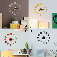 3D DIY Wall Clock Home Modern Decoration Crystal Mirror Vinyl Art Sticker Decals