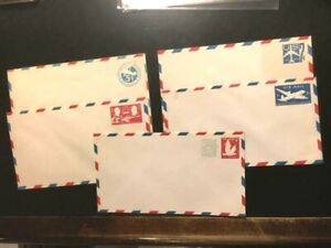 5 US Airmail Envelopes W/Embossed stamps-Unused-Fine-Free Shipping