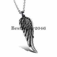 Vintage Stainless Steel Angel Wing Feather Pendant Necklace Men's Women's Gift