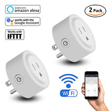 2 Pack Wifi Smart Plug Remote Control Outlet Socket Work With Alexa Google Home