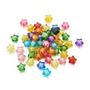 200 Pcs Transparent Mixed Color Acrylic Star Beads Round Bead Inside 12x11x8mm