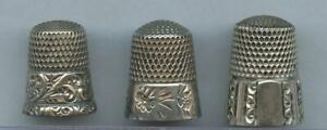18-1900's THREE STERLING SILVER THIMBLES - ENGRAVED, REPOUSSE, FLORAL - NICE LOT