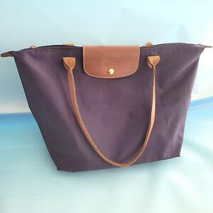 """Longchamp Bilberry Purple XL Shopper Tote Travel Le Pliage Nylon 19""""x12"""" *flaw"""