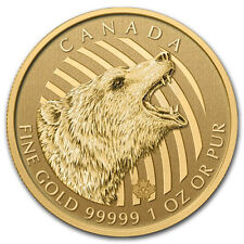 2016 Canada 1 oz Gold Roaring Grizzly Bear .99999 BU