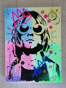 Kurt Cobain canvas Original Art Stencil Graffiti Spray Paint posca & GrōG pens