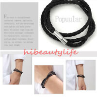 Fashion Womens Mens Black Leather Interlaced Cuff Bangle Wristband Bracelet hi