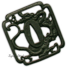 Japanese sword mountings  KATANA 鍔 STEEL TSUBA Square Dragon