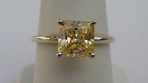 14K YELLOW GOLD SOLITAIRE WEDDING RING W/ 3 CT PRINCESS YELLOW DIAMOND /SZ 5TO10