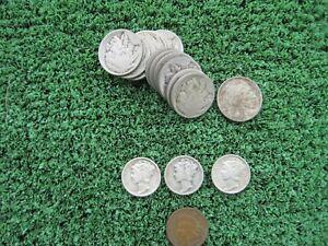 3 Mercury dimes, 1907 Indian Head Penny, 1916 Buffalo Nickel, 13 No Date Nickels