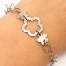 """925 Sterling Silver Star & Floral Design Link Bracelet 7"""""""