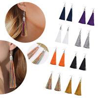 BOHO Long Tassel Earrings Colourful Dangle Long Drop Tassle Fringe Fashion 1Pair