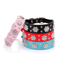 Dog Rhinestone Crystal Collar Diamante Leather Bling Cat Pet Puppy Necklace