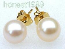 EXCELLENT PERFECT ROUND 6.5MM AAA+++ TOP GRADE WHITE AKOYA PEARLS EARRING