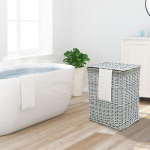 Wicker Laundry Basket Grey Washing Linen Bin Lid Bathroom Hamper Canvas Storage
