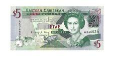 EAST CARIBBEAN $5 Dollars 2008, P-47 Final Paper Type, UNC, Pretty QEII Type