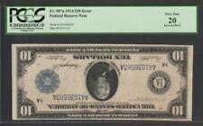 """Fr.907a 1914 $10 """"Unique"""" Inverted Back Error """"Boston 1 Known"""" Pcgs Very Fine 20"""