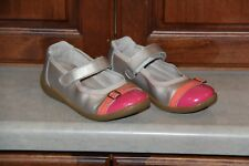 Toddler Girl Stride Rite Gold with pink and orange toe mary janes size 12m