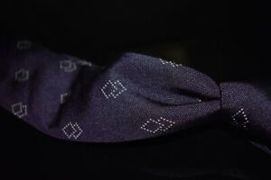 Ermenegildo Zegna Italy XXX Couture Woven Deep Purple Hobnail Diamond Silk Tie