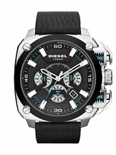 *NEW*DIESEL DZ7345 BAMF Chronograph Black Dial Black Leather Strap Men's Watch