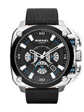*NEW*DIESEL DZ7345 BAMF Chronograph Black Dial Black Leather Strap Men's Watch