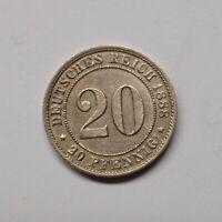 Kaiserreich 1888 D 20 Pfennig kleiner Adler (Fok27/2