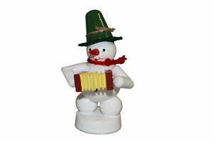 Christmas Decoration Snowman With Concertina Height 8cm New Snow Iceman