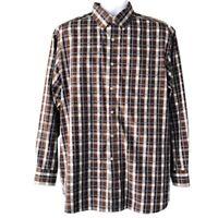 Daniel Cremieux Signature Collection Mens Brown Plaid Cotton Shirt Size Large