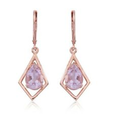 Rose De France Amethyst Lever Back Earrings Rose Gold O/lay S/Silver 2.500 Ct.