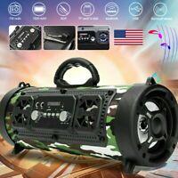 Portable Wireless bluetooth Speaker Boombox Bass Stereo Cylinder SD FM Radio NEW