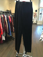 Yves Saint Laurent Size 6 Black Velvet High Waist Pants 1-295-31519