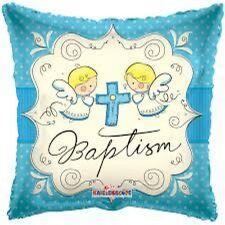 Party Supplies Boys Baptism Blue Square  45cm  Foil Balloon