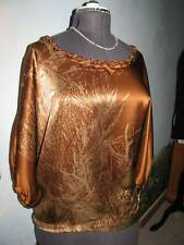 2B Rych Gorgeous Batwing Sleeve Brown Silk Evening Top  Blouse Tunic Size XS