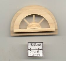 Window - Half Round - miniature 1/12 scale doll Houseworks #5048 attic wood 1pc