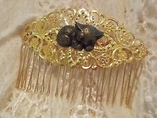 Gold Filigree Hair Comb - Cat Cabochon