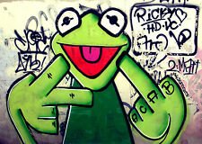 kermit frog street art canvas print mirror edges 70cm x 50cm