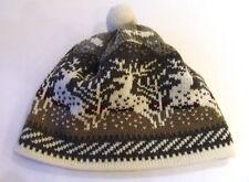 Mütze Norweger Strickmütze mit Bommel  grau weiß dunkelrot Wolle Fleece WARM