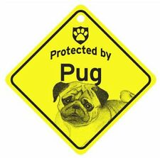 Protected by Pug  Dog Car Window Sign