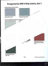 Kriegesmarine WW2 Ship Color paint chip charts set # 1 (for ship modellors)