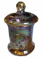 Vintage Glass Lidded Apothecary Jar Gold Trim Floral Gradient Color