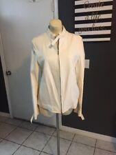 Max Mara Leather Jacket Size 10 Cream Ivory Moto Style Butter Soft