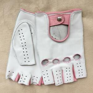 Fingerless Gloves for Ladies Driving Cycling White & Pink Handmade