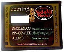 Vod-a-Vil Movies Magic Lantern Slide Orlandos Bishop Lee Alleno Chicago Clown US