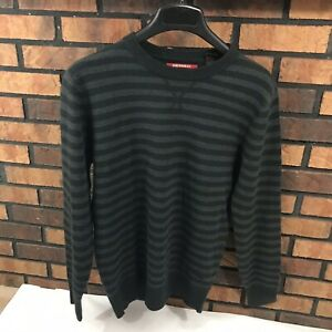 Men's Union Bay Grey And Black Stripped Sweater  100% Acrylic  Mens Large